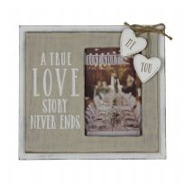 Love Story Wooden Frame True Love 4 x 6""